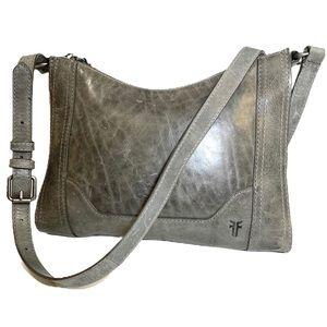 Frye Melissa Zip Grey leather Crossbody Bag